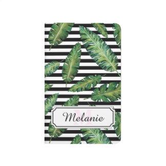 Black stripes banana leaf tropical summer pattern journals