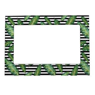 Black stripes banana leaf tropical summer pattern magnetic picture frame