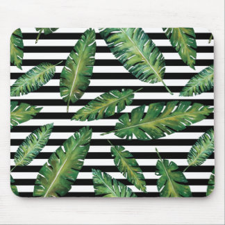 Black stripes banana leaf tropical summer pattern mouse pad