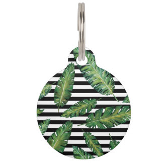 Black stripes banana leaf tropical summer pattern pet name tags