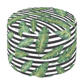 Black stripes banana leaf tropical summer pattern pouf
