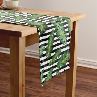 Black stripes banana leaf tropical summer pattern short table runner