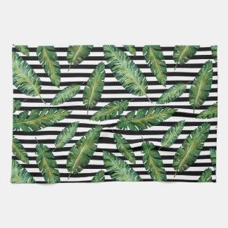 Black stripes banana leaf tropical summer pattern tea towel