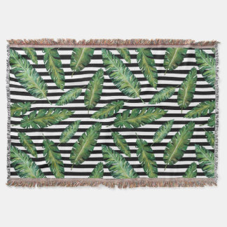 Black stripes banana leaf tropical summer pattern throw blanket