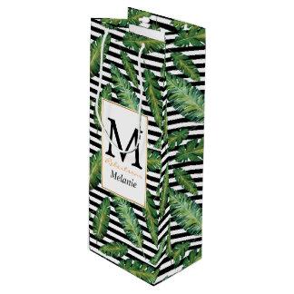 Black stripes banana leaf tropical summer pattern wine gift bag
