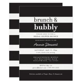 Black Stripes Brunch & Bubbly Bridal Shower Card