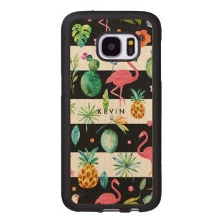 Black Stripes & Colorful Tropical Pattern 4 Wood Samsung Galaxy S7 Case