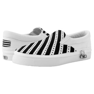 Black Stripes Dots Slip On Shoes US-Women Printed Shoes