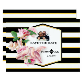 Black Stripes Floral Doves Save The Date Card
