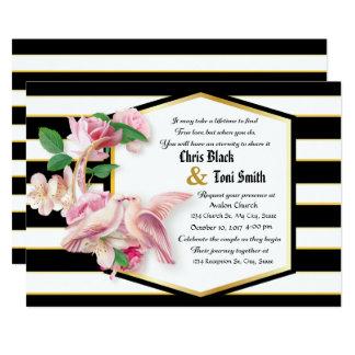 Black Stripes Floral Doves Wedding Invitation
