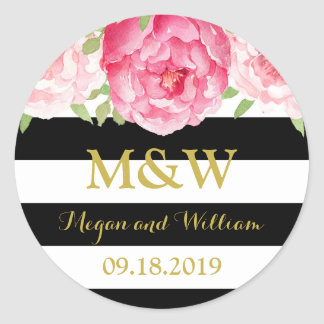 Black Stripes Floral Monogram Wedding Favor Tag