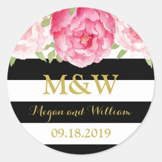 Black Stripes Floral Monogram Wedding Favor Tag Round Sticker