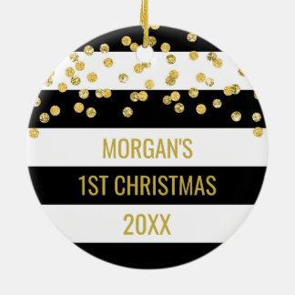 Black Stripes Gold Confetti Baby First Christmas Ceramic Ornament
