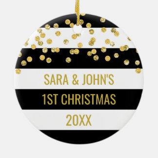 Black Stripes Gold Confetti First Christmas Ceramic Ornament