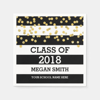 Black Stripes Gold Dots Class of 2018 Graduation Paper Napkin