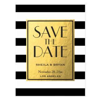 Black Stripes Gold Foil Save The Date Post Card