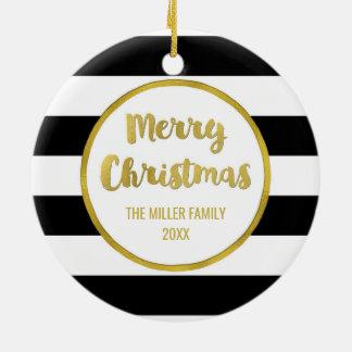 Black Stripes Gold Merry Christmas Photo Ceramic Ornament