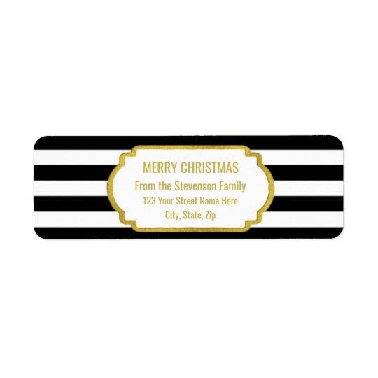 Black Stripes Gold Merry Christmas Return Address Label