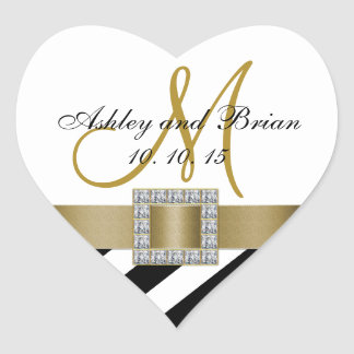 Black Stripes Gold Ribbon Initial Wedding Favor Heart Sticker