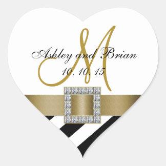 Black Stripes Gold Ribbon Initial Wedding Favor Heart Sticker