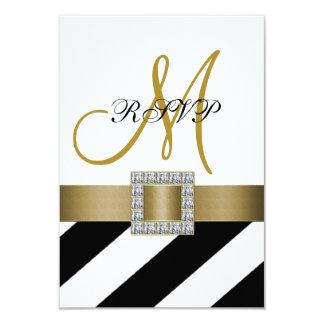 Black Stripes, Gold Ribbon, Initial Wedding RSVP 9 Cm X 13 Cm Invitation Card