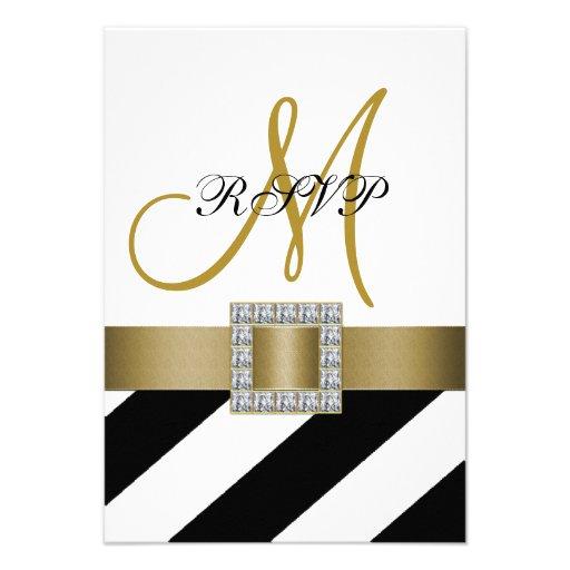 Black Stripes, Gold Ribbon, Initial Wedding RSVP Custom Announcement