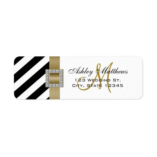 Black Stripes, Gold Ribbon Monogram for Weddings Return Address Label