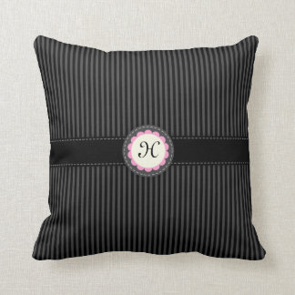 Black stripes monogram initial custom pillow case