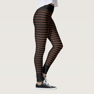 Black stripes on wood pattern designer leggings