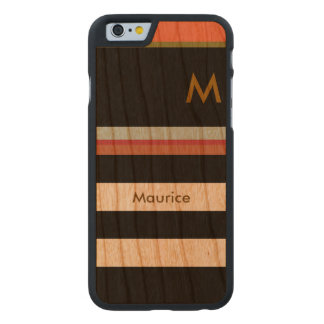 black stripes on wood with name & initial carved® cherry iPhone 6 case