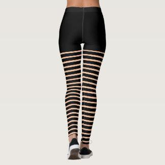 Black Stripes Pattern Cut Out Look Leggings