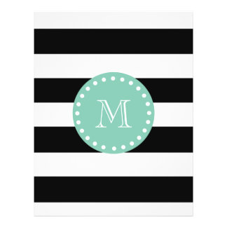 Black Stripes Pattern, Mint Green Monogram 21.5 Cm X 28 Cm Flyer