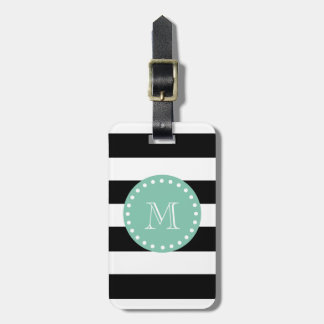 Black Stripes Pattern, Mint Green Monogram Bag Tag