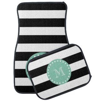 Black Stripes Pattern, Mint Green Monogram Floor Mat