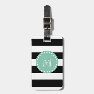 Black Stripes Pattern, Mint Green Monogram Luggage Tag