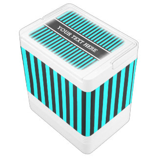 Black Stripes Pattern + your text & background Cooler