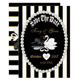 Black Stripes Pearl & Swans Save The Date Invite