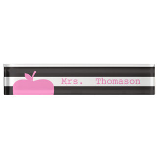 Black Stripes Pink Apple Teacher Nameplate