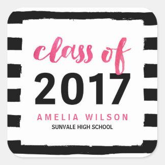 Black Stripes Pink Class of 2017 Graduation Party Square Sticker