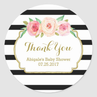 Black Stripes Pink Floral Baby Shower Favor Tags Round Sticker
