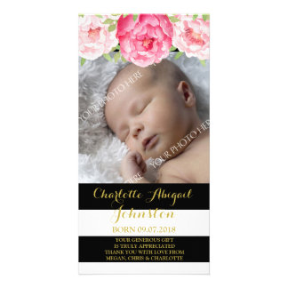 Black Stripes Pink Flowers Thank You Baby Shower Photo Cards