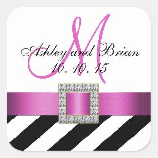 Black Stripes Pink Ribbon Initial Wedding Favor Square Stickers