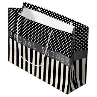 Black Stripes/Polka Dots Diamond Bridal Shower LG Large Gift Bag