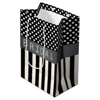 Black Stripes/Polka Dots Diamond Bridal Shower Medium Gift Bag