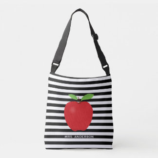Black Stripes, Red Apple Personalizaed Teacher Crossbody Bag