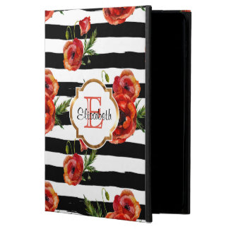 Black Stripes, Red Poppy, Faux Gold, Personalized