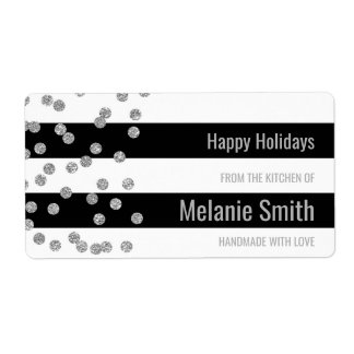 Black Stripes Silver Confetti Baking Labels