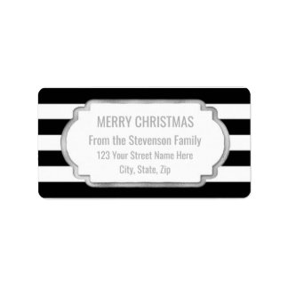 Black Stripes Silver Merry Christmas Label