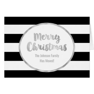 Black Stripes Silver Merry Christmas New Address Card