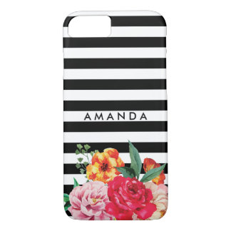 Black stripes Watercolor Peony Flower YOUR NAME iPhone 8/7 Case